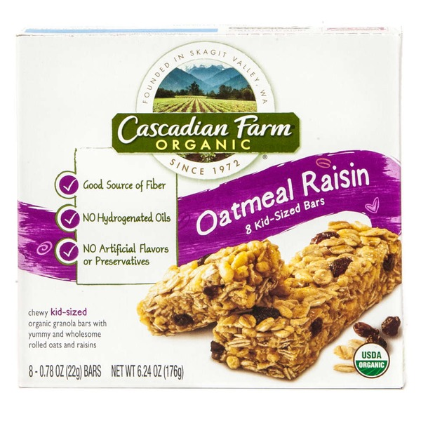 Cascadian Farm Organic Chewy Kid-Sized Oatmeal Raisin Granola Bars