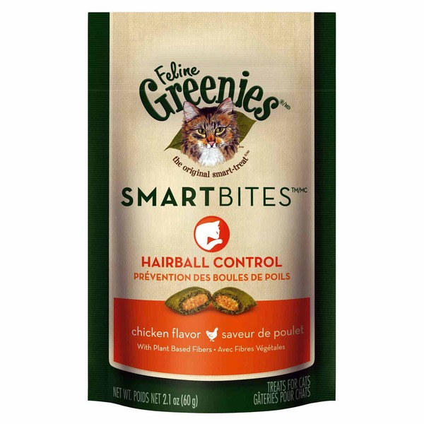 Greenies Feline Smartbites Hairball Control Chicken Flavor Cat Treats