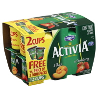 Dannon Activia Yogurt Peach & Strawberry - 12
