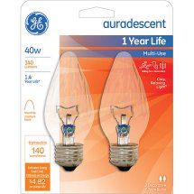 GE 40-Watt Auradescent Flame Tip Decorative Bulb, 2-Pack