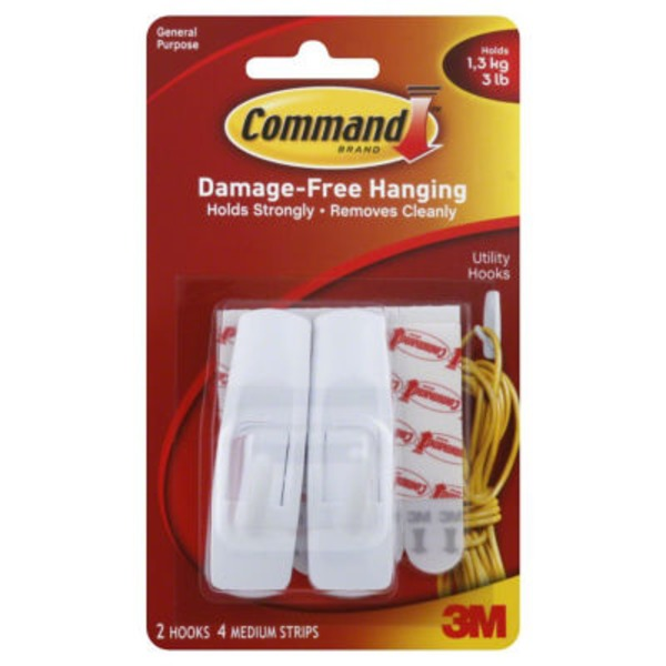 3m Command Damage-Free Medium General Purpose Hanging Utility Hooks - 2 CT