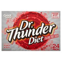 Great Value Dr. Thunder Diet Calorie Free Soda, 12 fl oz, 24 count