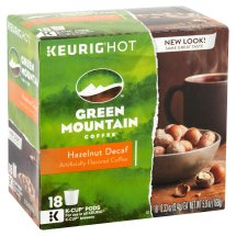 Green Mountain Coffee Hazelnut Decaf Keurig Single-Serve K-Cup Pods, Light Roast, 18 count