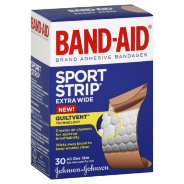 Band Aid® Brand Adhesive Bandages Sport Strip 30 ct All One Size Premium