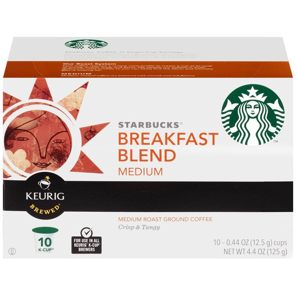Starbucks Breakfast Blend Medium Roast K-Cup Pods Ground Coffee