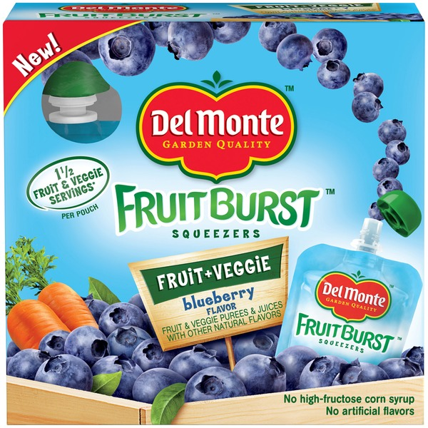 Del Monte FruitBurst Squeezers Blueberry Flavors Fruit & Veggie Purees & Juices