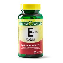 Spring Valley Vitamin E D-Alpha Softgels, 1000 IU, 60 Ct