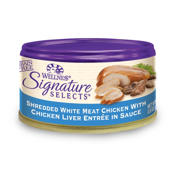 Wellness Signature Selects Grain Free Shredded White Meat Chicken With Chicken Liver Entree in Sauce