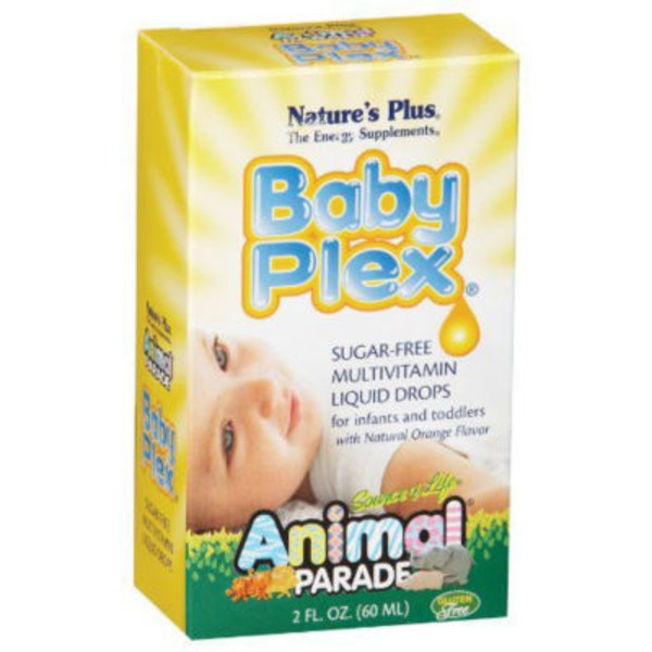 Nature's Plus Source Of Life Animal Parade Baby Plex Sugar Free Multivitamin Liquid Drops Orange