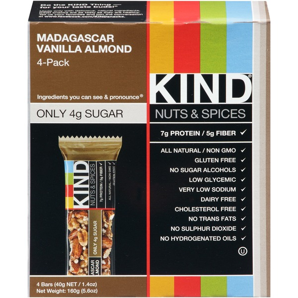 Kind Nuts & Spices Madagascar Vanilla Almonds Snack Bars