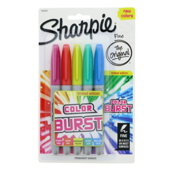 Sharpie Color Burst Permanent Marker Fine - 5 CT