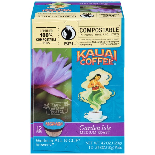 Kauai Coffee Garden Isle Medium Roast Single Serve Cups Coffee