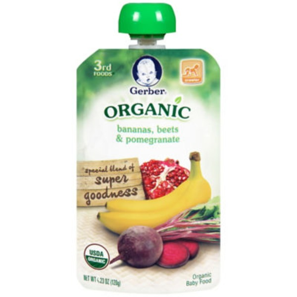 Gerber Organic 3 Rd Foods Organic Bananas Beets & Pomegranate Baby Food