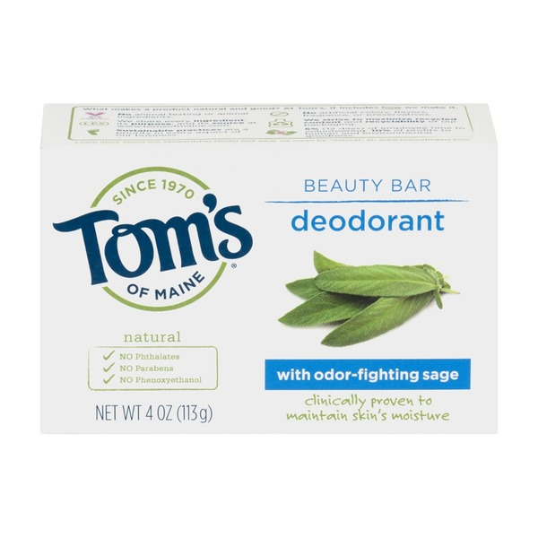 Tom's of Maine Deodorant Beauty Bar with Odor Fighting Sage