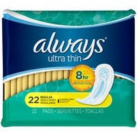 Always Thin Ultra Always Ultra Thin Size 1 Regular Pads Without Wings, Unscented, 22 count Feminine Care