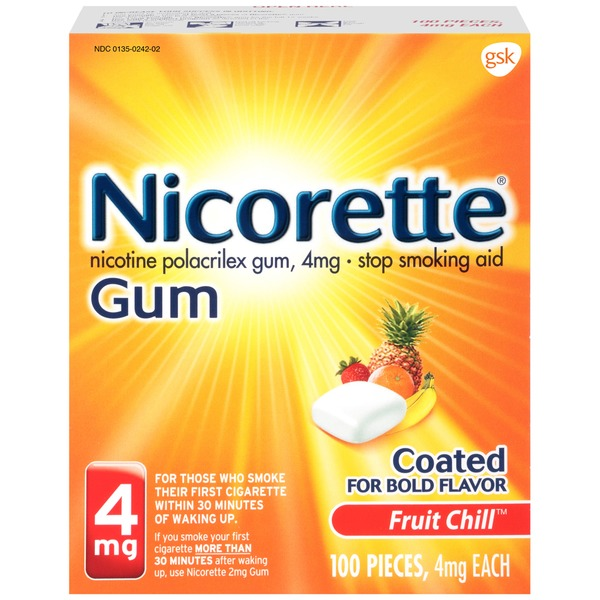 Nicorette 4mg Fruit Chill Gum Stop Smoking Aid
