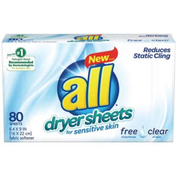 All Dryers Sheets for Sensitive Skin Free Clear Fabric Softener