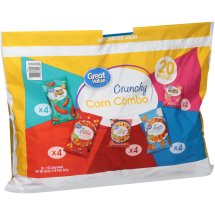 Great Value Crunchy Corn Combo Cheese Puffs, Tortilla Chips, Corn Chips & Cheese Crunch Variety Pack 20-1 oz. Bags