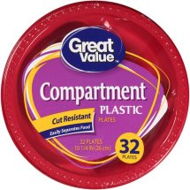 Great Value Compartment Plastic Plates, 10 1/4', 32 count