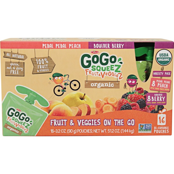 GoGo Squeez Fruit & VeggieZ On The Go Variety Pack - 16 CT