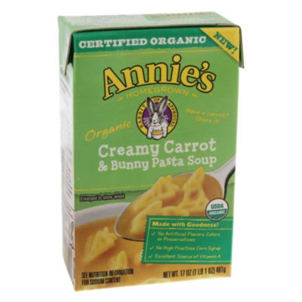 Annie's Homegrown Creamy Carrot & Bunny Pasta Organic Soup