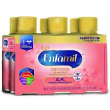 Enfamil A.R. Infant Formula for Spit Up, Ready to Use, 8 fl oz Bottles, 6 Pack