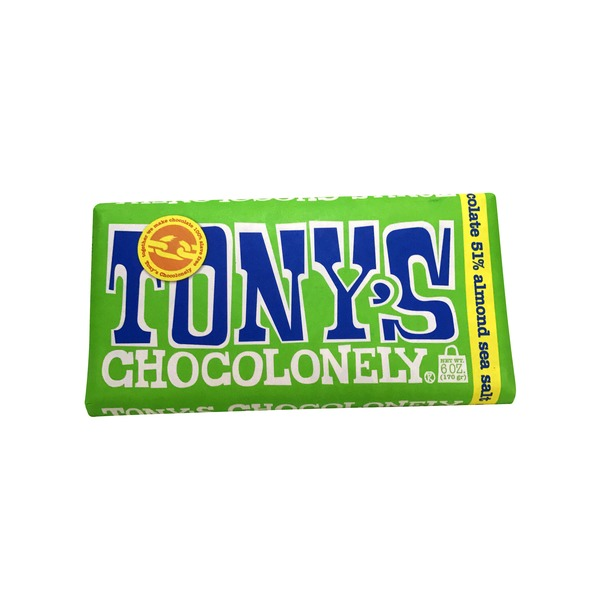 Tonys Chocoloney Dark Chocolate 51% Almond Sea Salt Bar