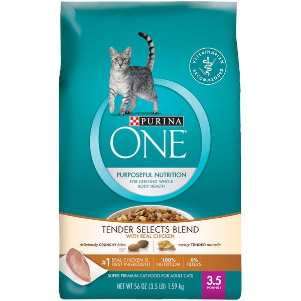 Purina One Cat Dry Tender Selects Blend with Real Chicken Cat Food