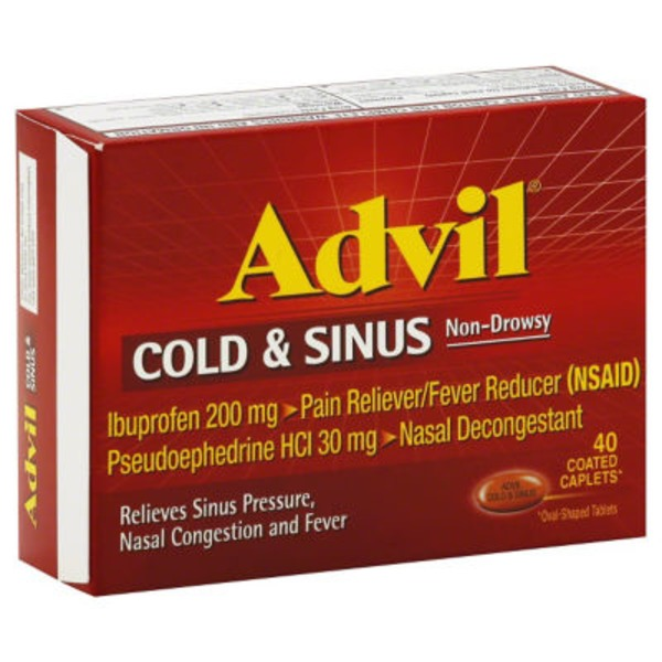 Advil Cold & Sinus Coated Caplets Pain Reliever/Fever Reducer/Nasal Decongestant