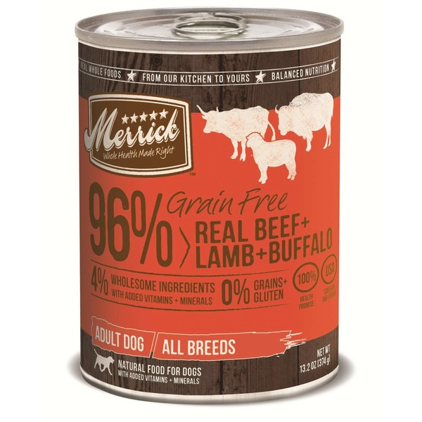 Merrick Grain Free 96% Real Beef + Lamb + Buffalo Canned Dog Food
