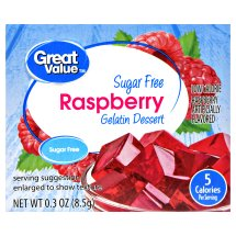 Great Value Gelatin Dessert, Sugar Free, Raspberry, 0.3 oz