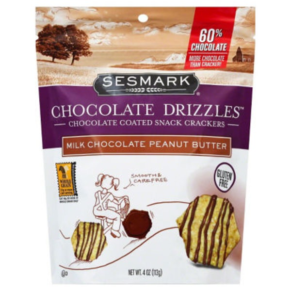 Sessmark Milk Chocolate Peanut Butter Chocolate Drizzles Snack Crackers