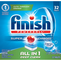 Finish All In 1 Powerball Dishwasher Detergent Tablets, Fresh, 32 Count