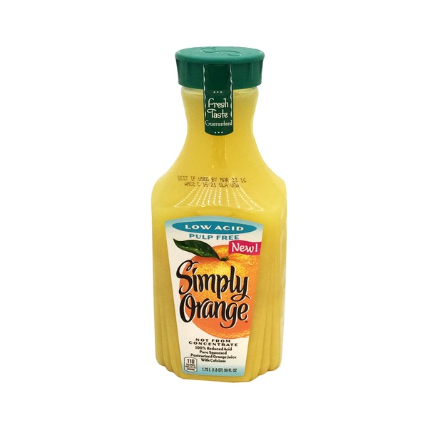 Simply Beverages Low Acid Pulp Free Orange Juice