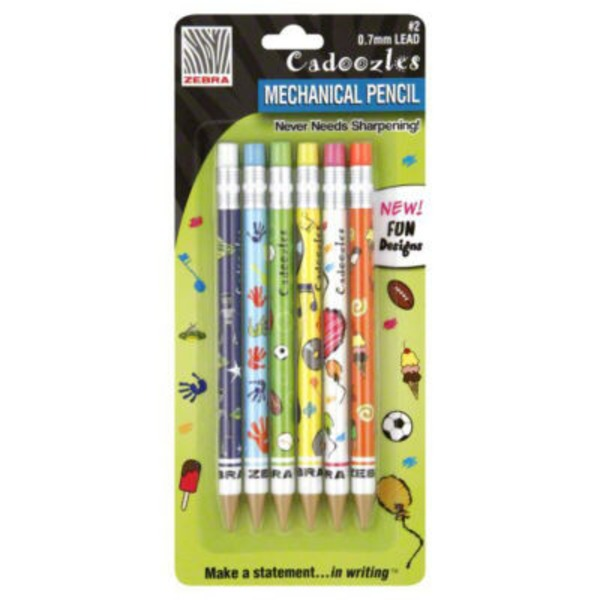 Zebra Cadoozles Mechanical Pencil .7mm #2 Lead - 6 CT