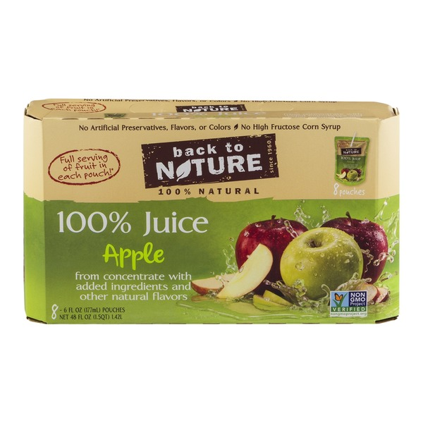 Back to Nature 100% Juice Pouches Apple - 8 CT