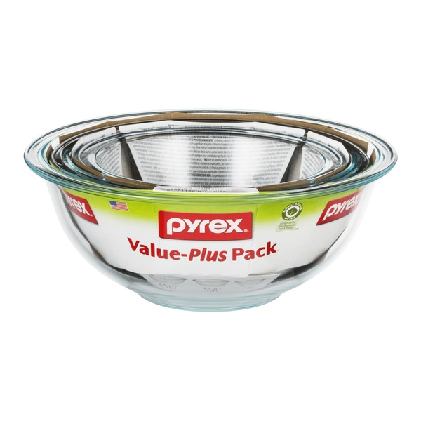 Pyrex Value-Plus Pack Glass Bowls - 3 Piece
