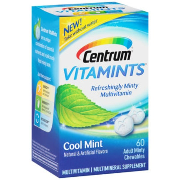 Centrum VitaMints Cool Mint Adult Minty Chewables Multivitamin/Multimineral Supplement