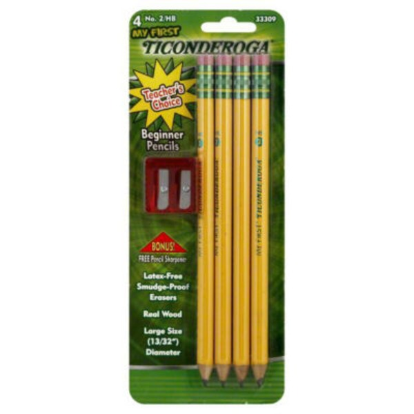 Ticonderoga Noir My First Ticonderoga Oversized Beginner Pencils #2 HB Sharpened - 4 CT