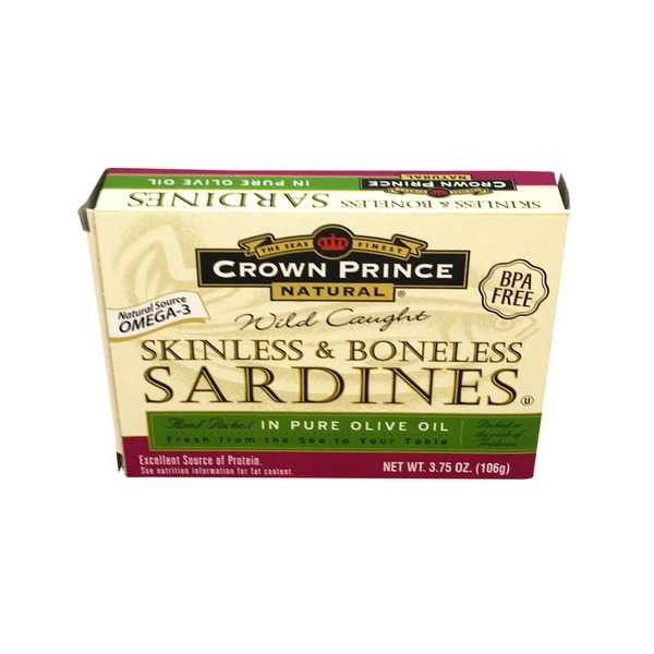 Crown Prince Natural Wild Caught Skinless & Boneless Sardines In Pure Olive Oil