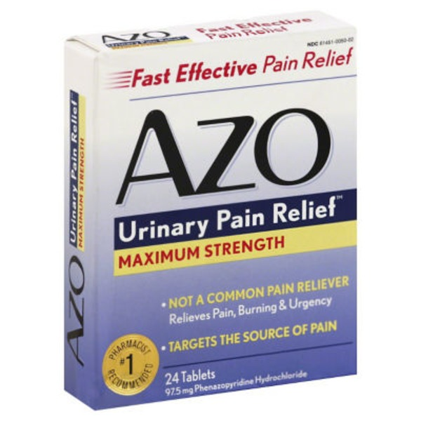 Azo Standard Maximum Strength Fast Relief for Urinary Pain 24ct Tablets