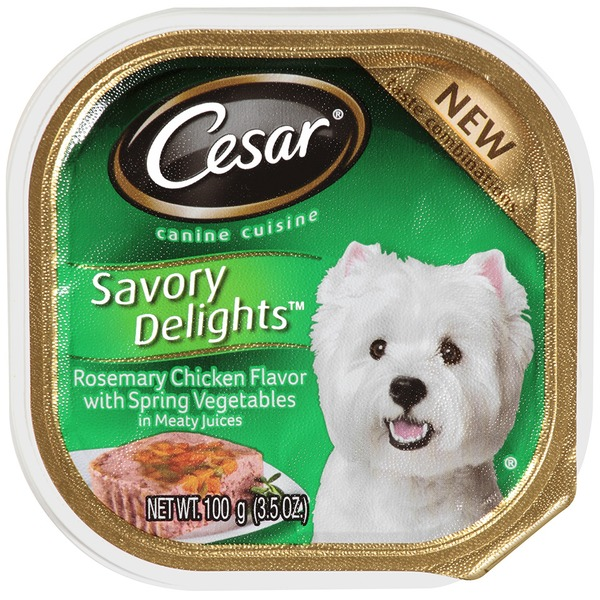 Cesar Savory Delights Rosemary Chicken Flavor with Spring Vegetables in Meaty Juices Wet Dog Food