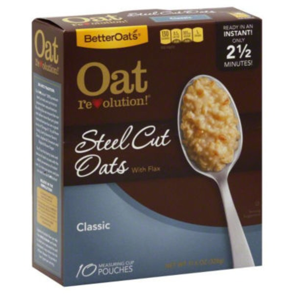 Better Oats Steel Cut Original with Flax Seeds Instant Oatmeal