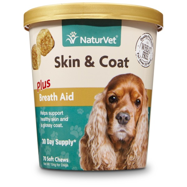NaturVet Skin & Coat Plus Breath Aid Dog Soft Chews