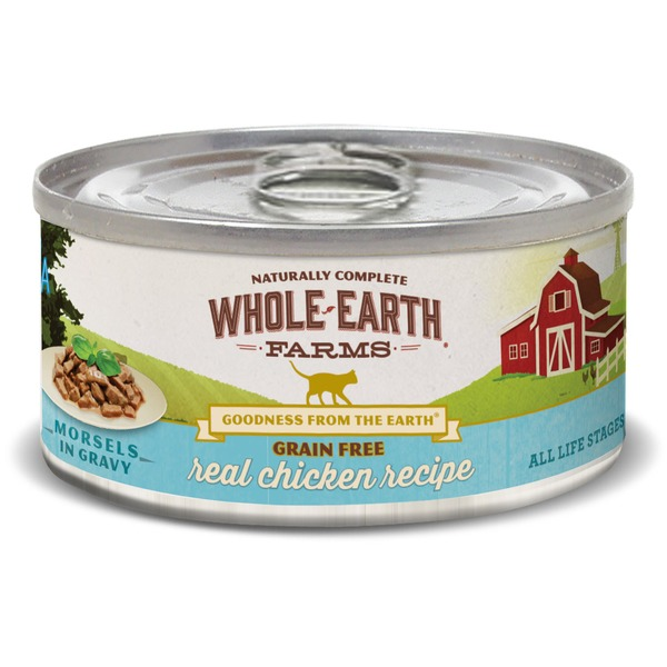 Whole Earth Farms Grain-Free Canned Cat Food, Shredded Chicken