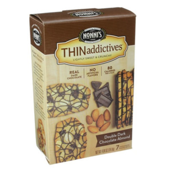 Nonni's Thinaddictives Double Dark Chocolate Almond - 7 CT