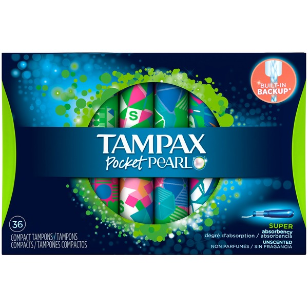 Tampax Pearl Pocket Tampax Pocket Pearl Compact Plastic Tampons, Super Absorbency, Unscented 36 Count Feminine Care
