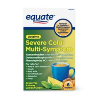 Equate Severe Cold & Flu Relief, Green Tea & Honey Lemon Flavors; Relieves Cough, Sore Throat Pain, Body Ache, Headache and Fever, 6 Ct