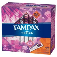 Tampax Radiant Super Plus Absorbency Tampons - 28ct