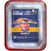 Reynolds Heavy Duty Disposable Roasting Pan with Lid, 11.75 x 9.25 x 2 1/2 Inch, 3 Count